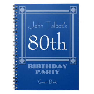 Retro Blue 80th Birthday Party Guest Book