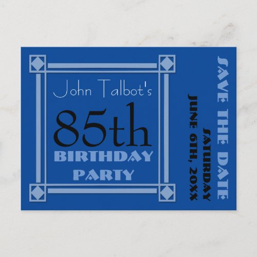 Retro Blue 85th birthday Party Save the Date P Announcement Postcard