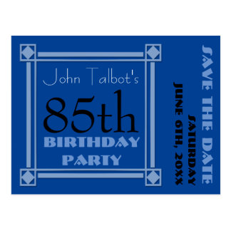 Retro Blue 85th birthday Party Save the Date P Postcard