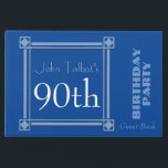 """Retro Blue 90th Birthday Party Guest Book<br><div class=""""desc"""">Vintage and retro style for this customizable 90th birthday Party Guest book in blue with a half-transparent frame. You can easily change color background and text (font, color, size and position) by clicking the customize button. Available in binder and spiral notebook. Matching Birthday save the date (postcard), birthday paper plate...</div>"""