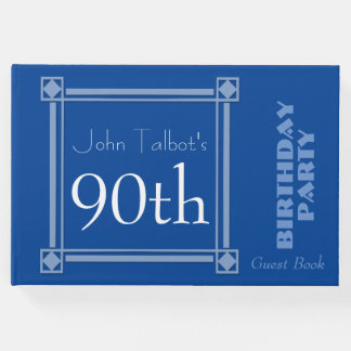 Retro Blue 90th Birthday Party Guest Book