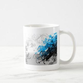 retro blue abstract design coffee mug