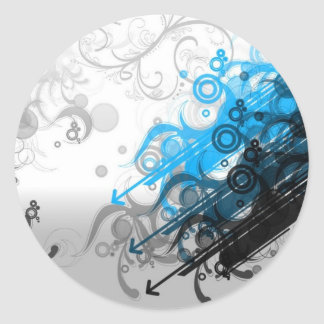Retro Blue Abstract Round Sticker