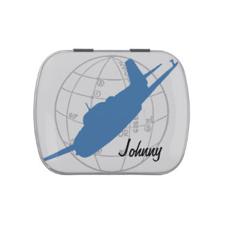 Retro Blue Airplane Aviator Jelly Belly Candy Tins