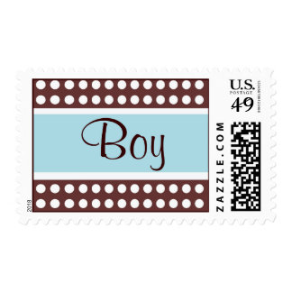Retro Blue and Brown Baby Boy Postage