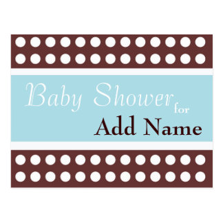 Retro Blue and Brown Baby Shower Invitation Postcard