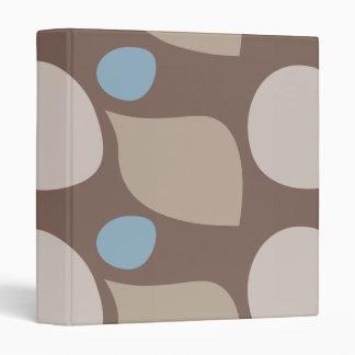 Retro Blue and Brown Polka Dot Abstract Shapes Binder