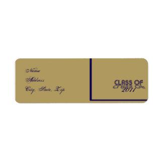 Retro Blue and Gold Graduation Return Address Custom Return Address Label