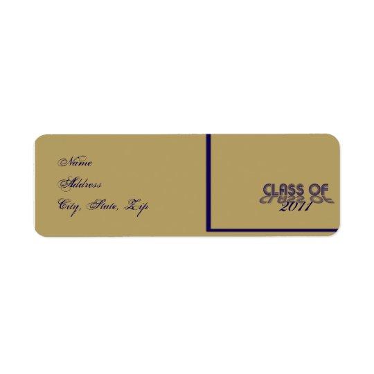 Retro Blue and Gold Graduation Return Address Label