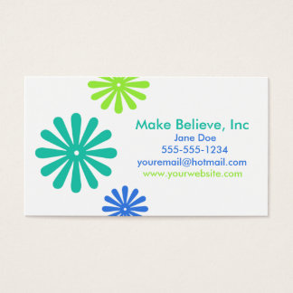 Retro Blue and Green Flowers Business Card