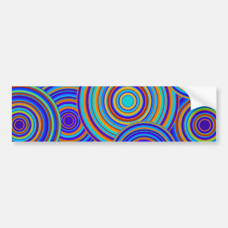 Retro Blue and Orange Circles Pattern Car Bumper Sticker