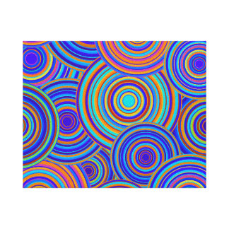 Retro Blue and Orange Circles Pattern Canvas Print