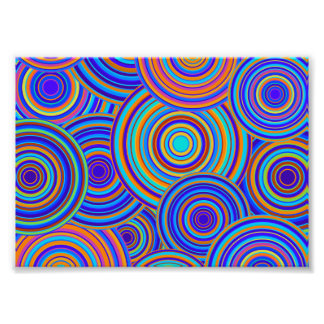 Retro Blue and Orange Circles Pattern Photo Print