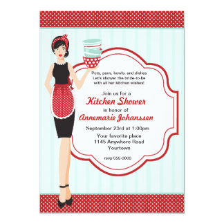 Retro Blue and Red Kitchen Shower Invitation