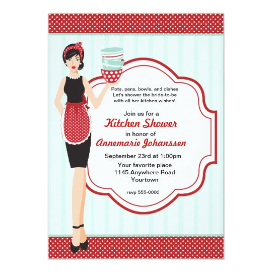 Retro Blue and Red Kitchen Shower Invitation