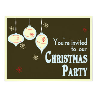 "Retro Blue and Tan Christmas Invitations 6.5"" X 8.75"" Invitation Card"