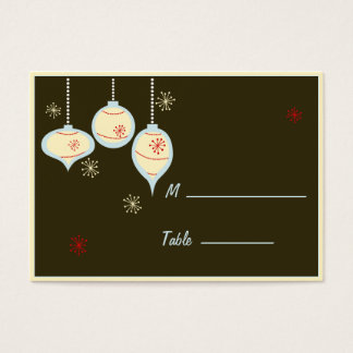 Retro Blue and Tan Christmas Placecards Business Card