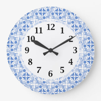 Retro Blue and White Abstract Pattern Large Clock