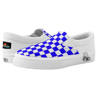 Retro Blue and White Checker Slips Ons Printed Shoes