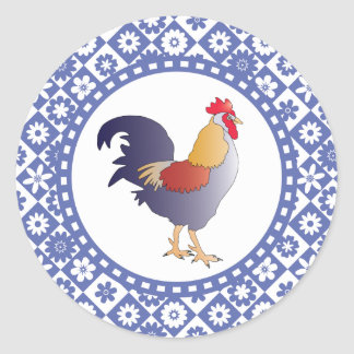 Retro Blue and White French Rooster and Flowers Classic Round Sticker