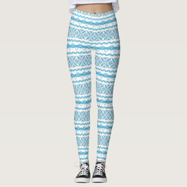 Retro Blue and White Leggings