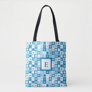 Retro Blue and White Squares - Add your initial Tote Bag