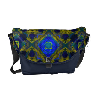 Retro Blue and Yellow Fractal Pattern Messenger Bag