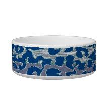 Retro blue animal print texture of leopard bowl
