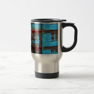 Retro Blue Apartment Structure Digital Art Travel Mug