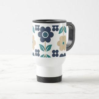 Retro Blue/Beige Flowers Travel/Commuter Mug