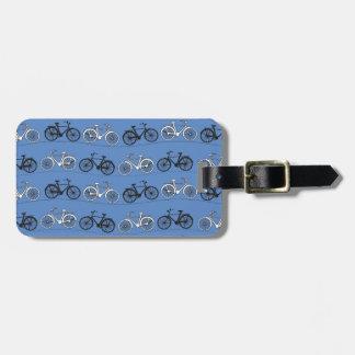Retro Blue Bicycle Pattern Luggage Tag