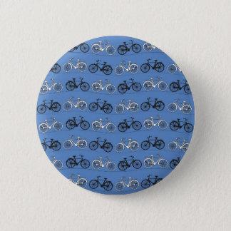 Retro Blue Bicycle Pattern Pinback Button