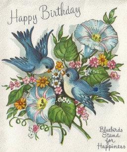 Blue bird happiness birthday cards zazzle retro blue bird birthday greeting card m4hsunfo