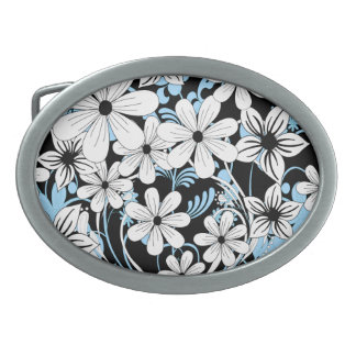 Retro Blue Black and White Floral Pattern Oval Belt Buckle