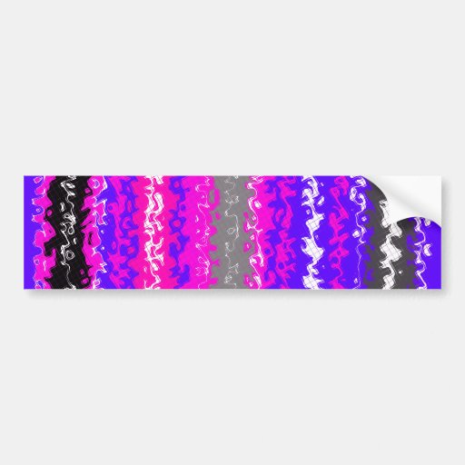 Retro blue black pink gray psychedelic rectangles car bumper sticker