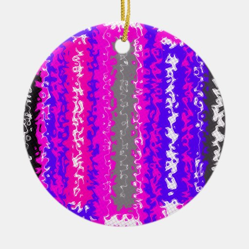 Retro blue black pink gray psychedelic rectangles christmas ornaments