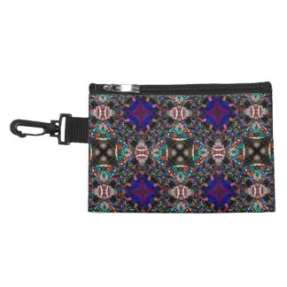 Retro Blue Blossom Fractal Pattern Accessories Bag