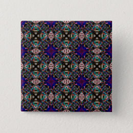 Retro Blue Blossom Fractal Pattern Button