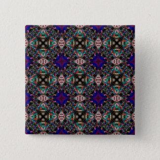 Retro Blue Blossom Fractal Pattern Button