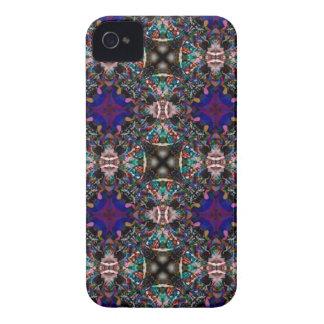 Retro Blue Blossom Fractal Pattern Case-Mate iPhone 4 Case