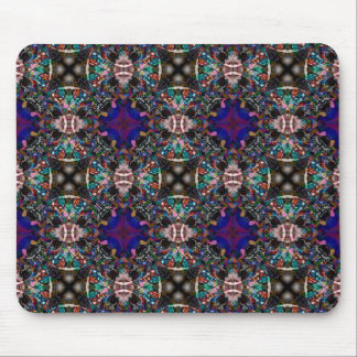 Retro Blue Blossom Fractal Pattern Mouse Pad