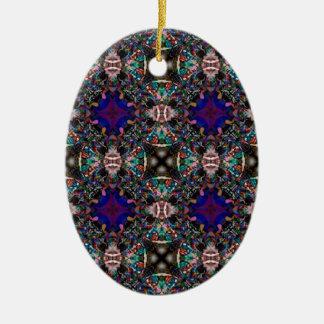 Retro Blue Blossom Fractal Pattern Christmas Ornaments