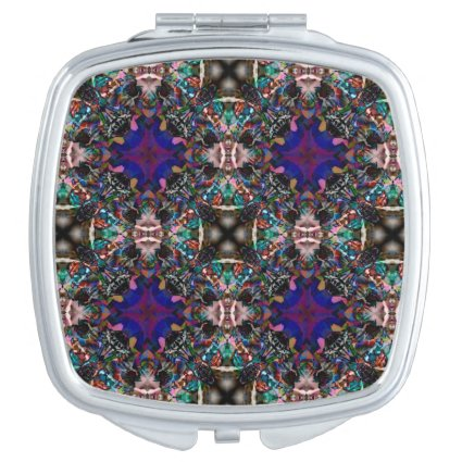 Retro Blue Blossom Fractal Pattern Travel Mirror