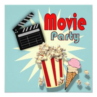 Retro blue Boys Movie Birthday Party Invitation