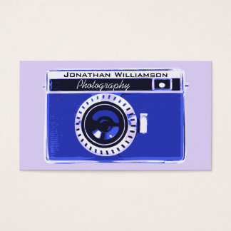 Retro Blue Camera Photography Business Cards