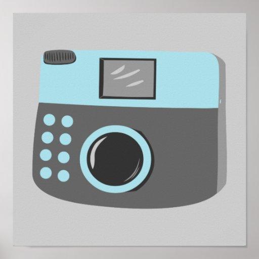 Retro Blue Camera Poster