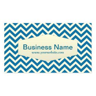 Retro Blue Chevron Ski Business Card