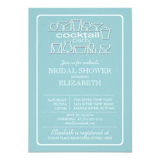 Retro Blue Cocktail Party Bridal shower Card