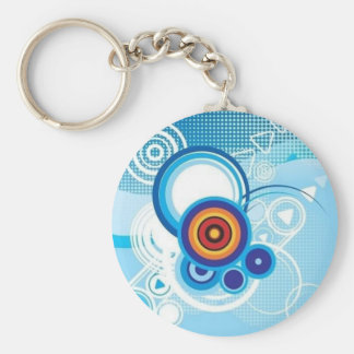 retro blue effect keychain