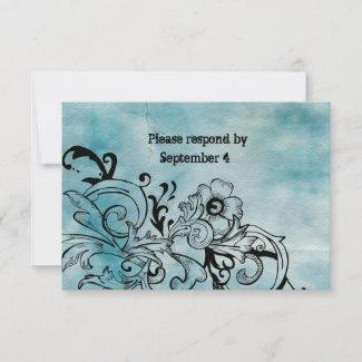Retro Blue Floral RSVP with envelopes zazzle_invitation